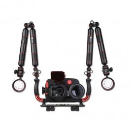 Hugyfot Vision custodia subacquea in alluminio per GoPro Hero 5 e 6+Macro kit +Arius 1500 Kit